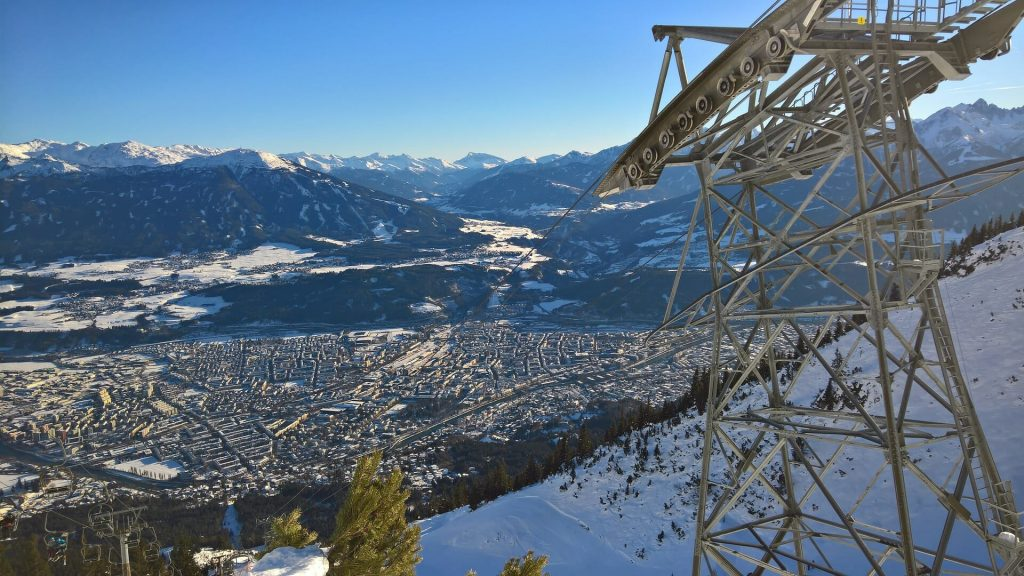 Innsbruck cable car over the magnificent ski runs