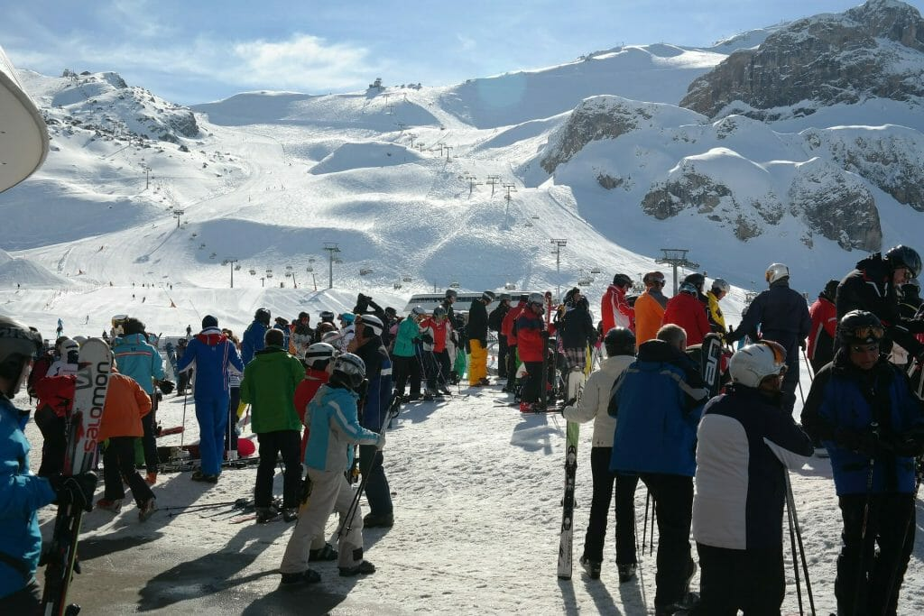 Skiers waiting to get on the ski lifts in Ischgl