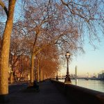 Chelsea London - path along the Thames River on a sunny winter day