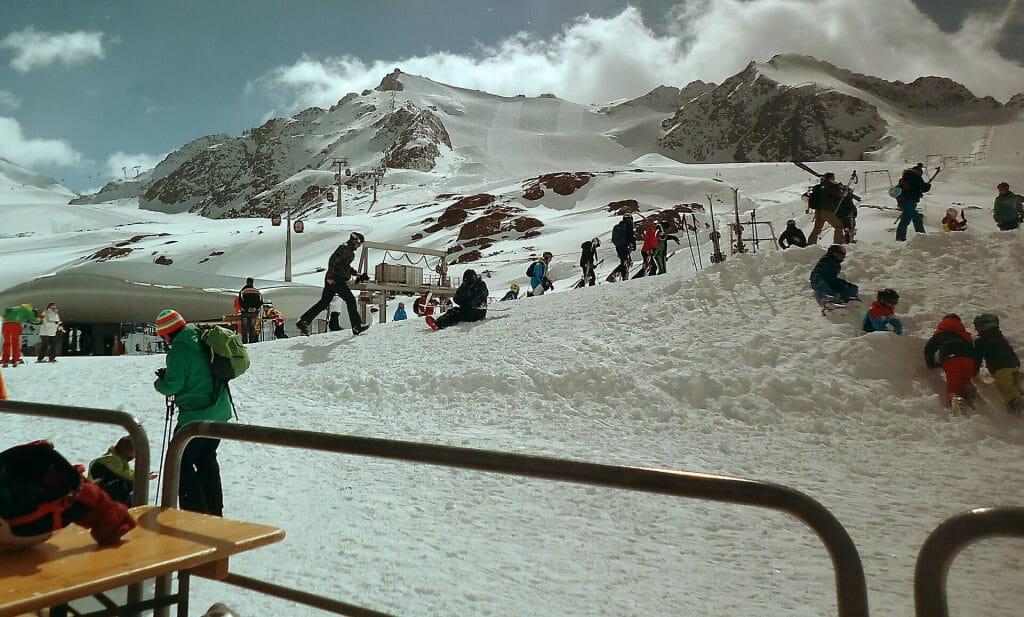 People waiting to hit the slopes