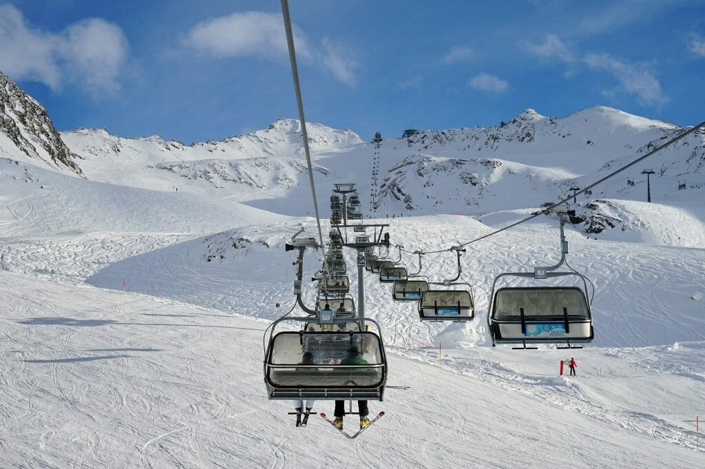 Ski lifts over Austrian run