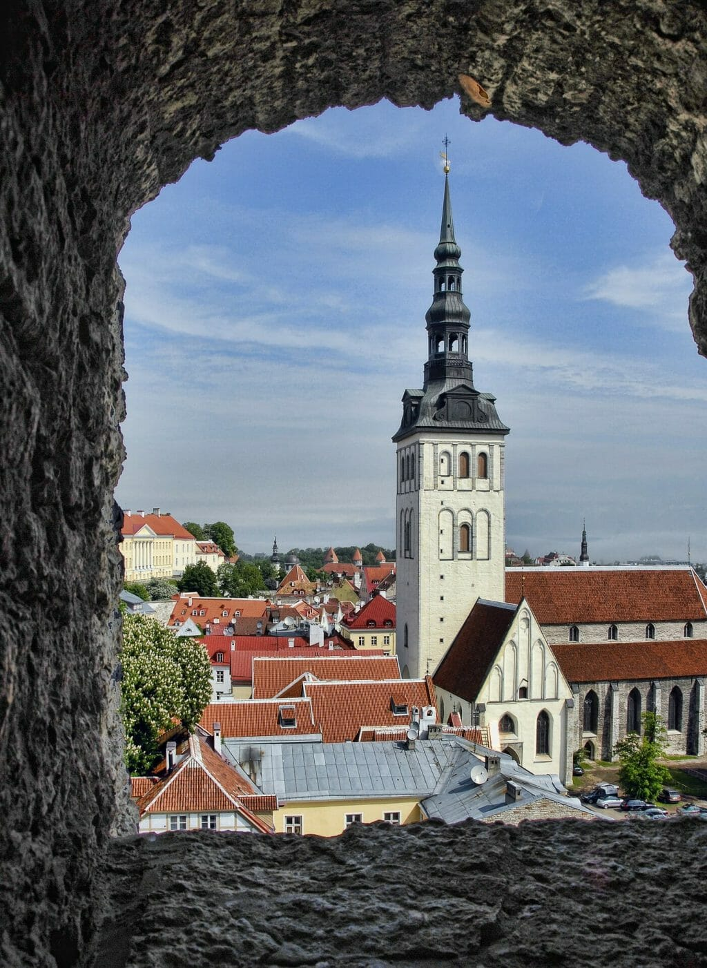 View of the church from a stone window in Estonia