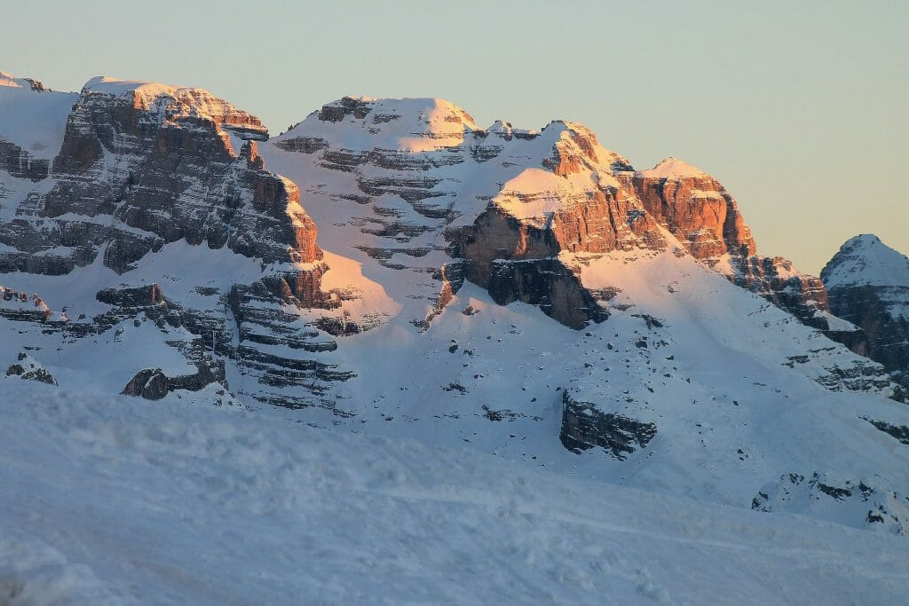 Peaks of the Dolomites as the sun sets in the west