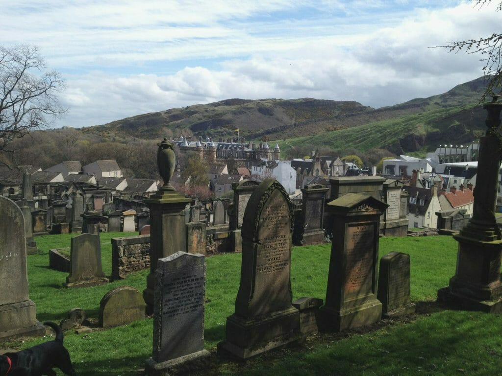 Graveyard overlooking Edinburgh, Scotland
