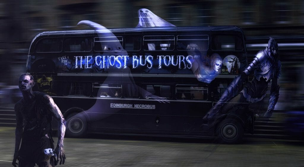 "Black tour bus with a man creatures slicking away from it; tour bus is titled ""Ghost Tour Bus"""