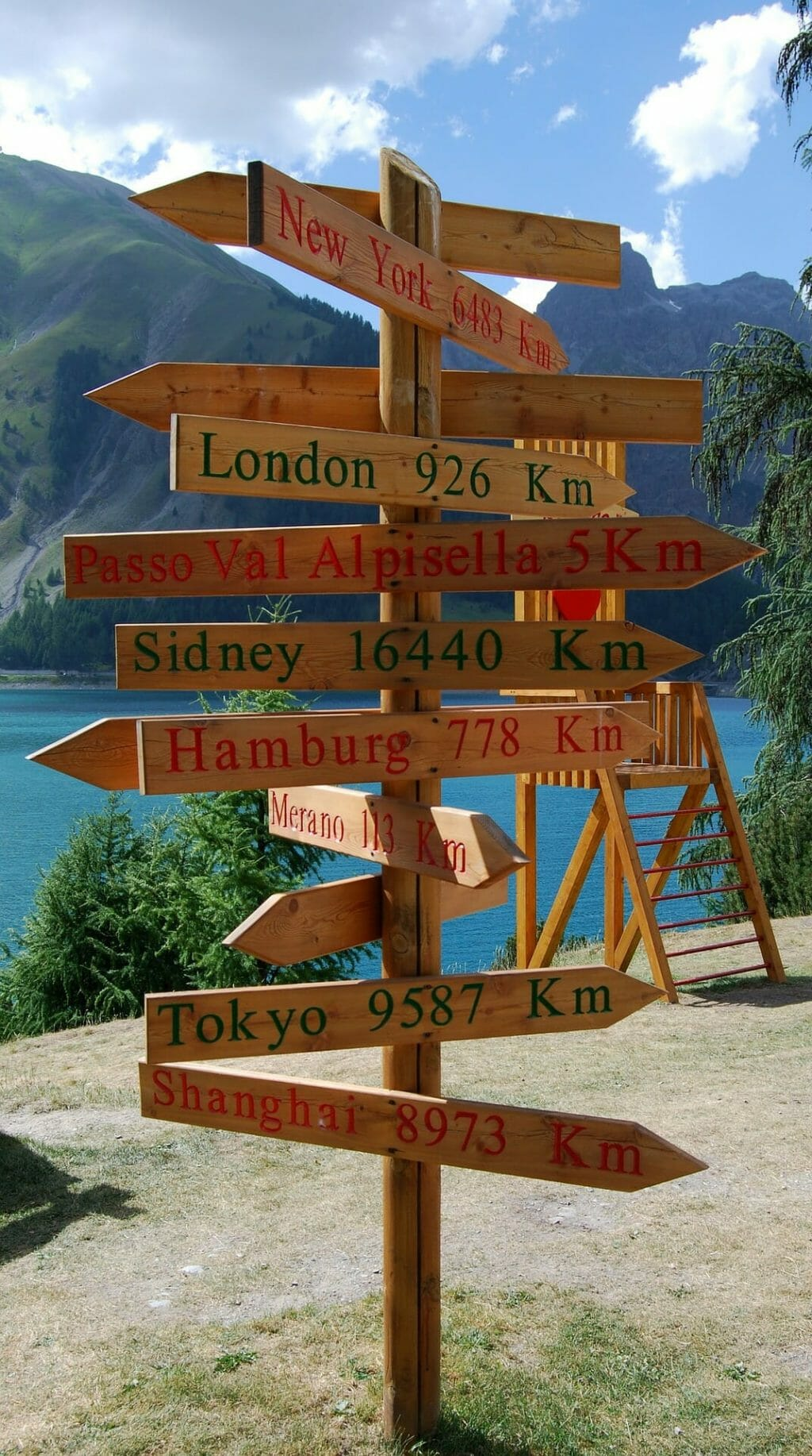 Signs depicting the distance from Livigno to said places in kilometers