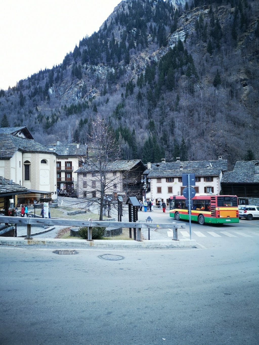 Quiet Italian mountain town in early winter