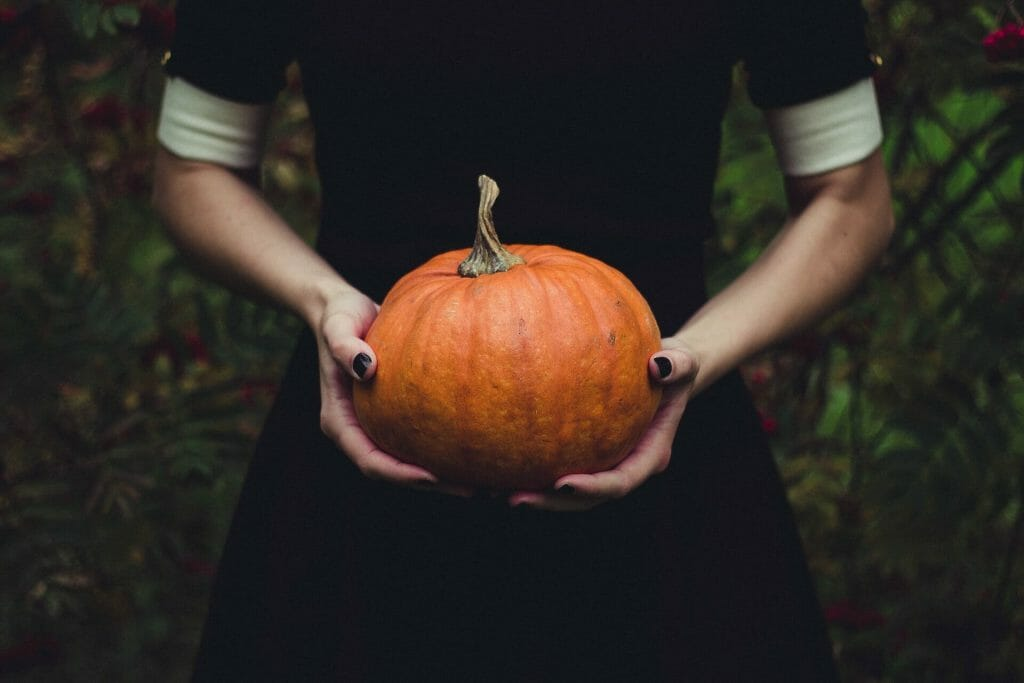 Young woman in a black dress holding a small orange pumpkin in the woods