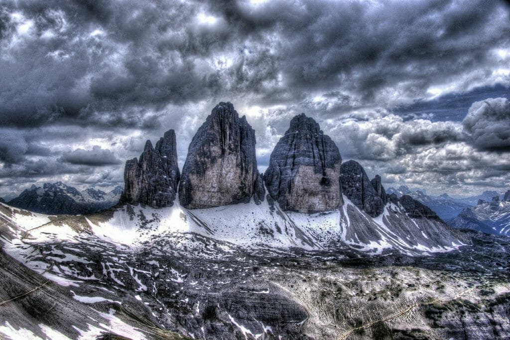 The three peaks in the Dolomiti on a stormy cloudy day