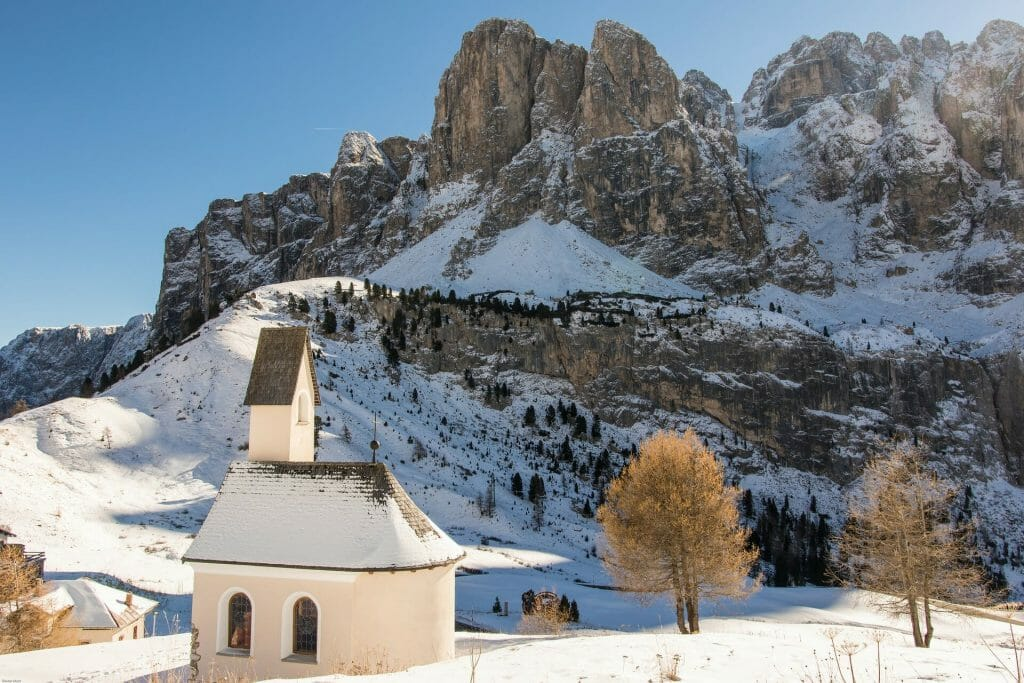 Quaint little church in South Tyrol, all covered with snow