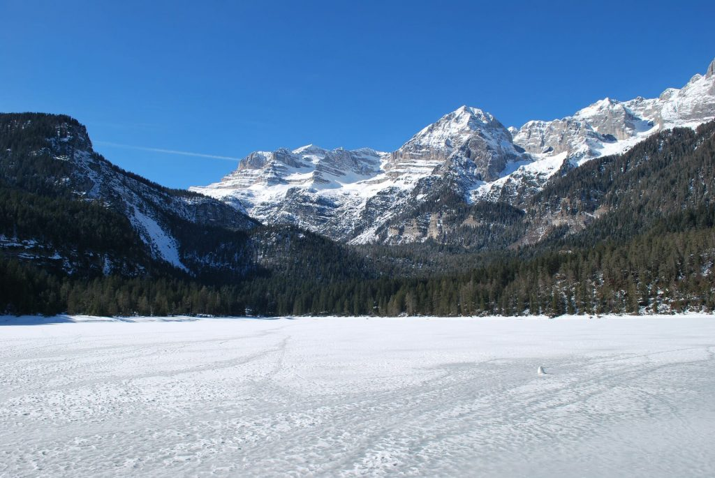 Th frozen lake in the Dolomites