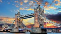 Tower Bridge in London at sunrise