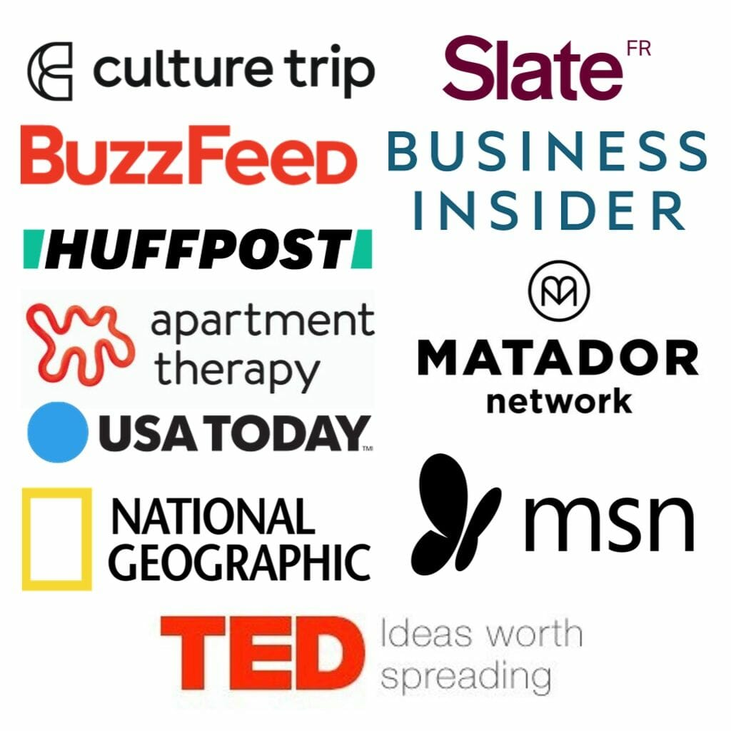 Logos of publications that have featured EuropeUpClose: Culturetrip, Slate France, Buzzfeed, Business Insider, Huffpost, Matador Network, Apartment Therapy, USA Today, National Geographic, MSN, TED