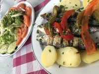 Portuguese Food - Fried Sardines with potatoes and mixed salad