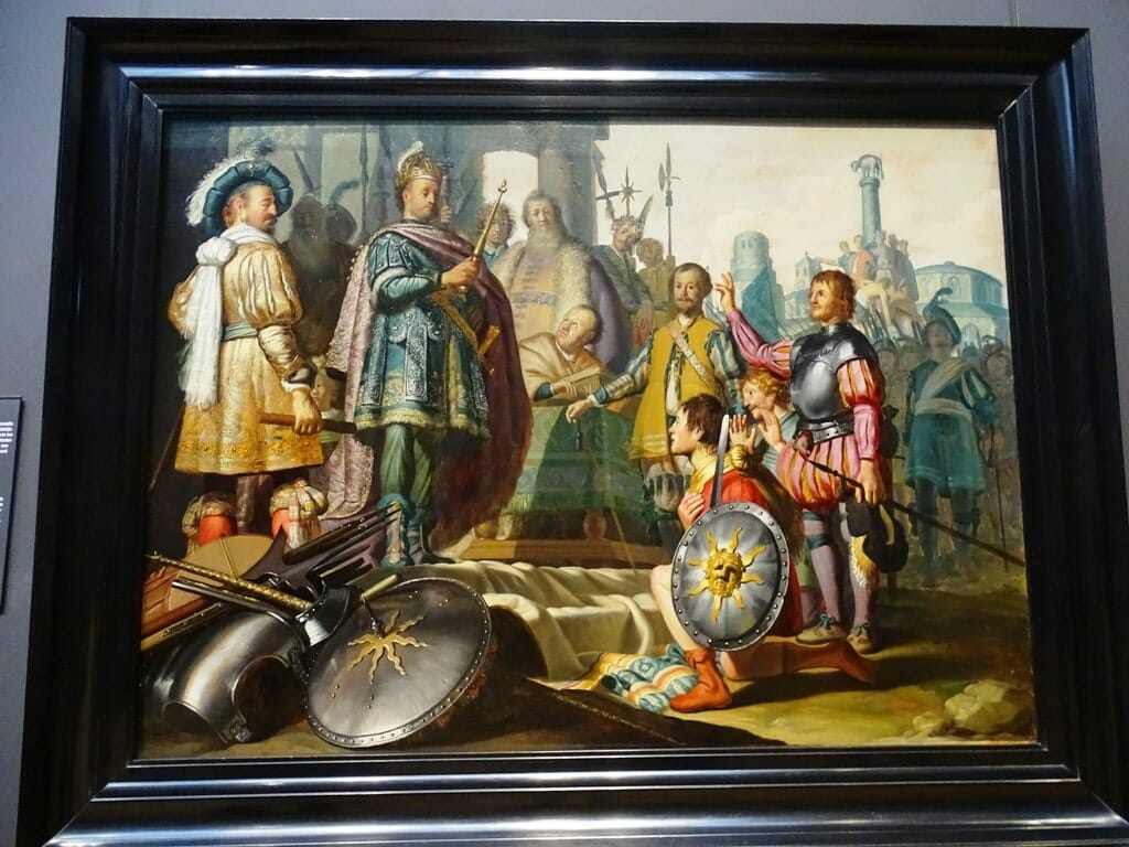 Painting of a king inspecting equipment as people watch in awe of him