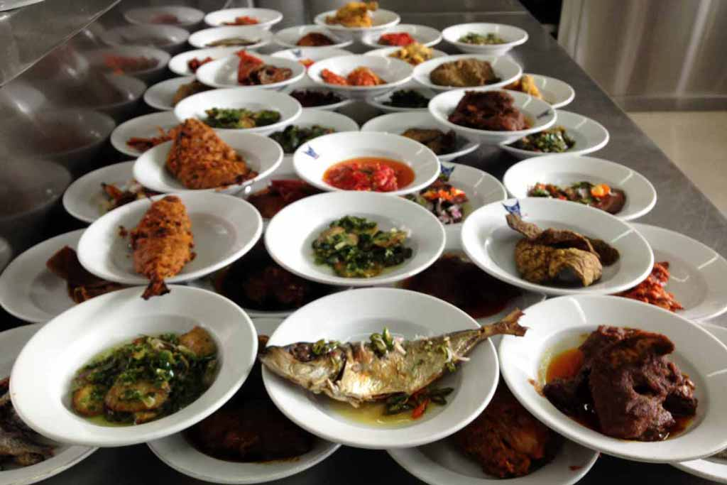 Plates of various and colorful Indonesian food