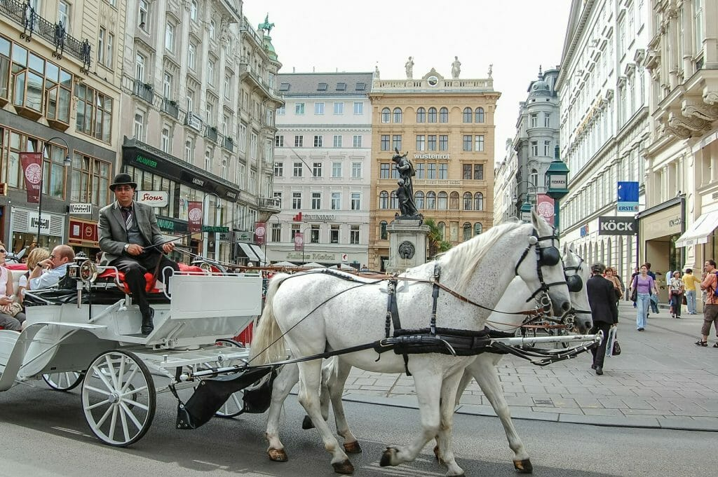 Vienna town square in the day time with a horse drawn carriage idly going around