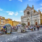 Vivid image of a clear day at the Florence town market outside of the Firenze Church