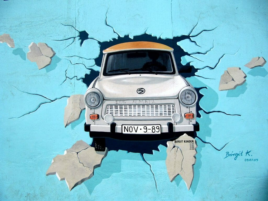 Graffiti of trabi car driving