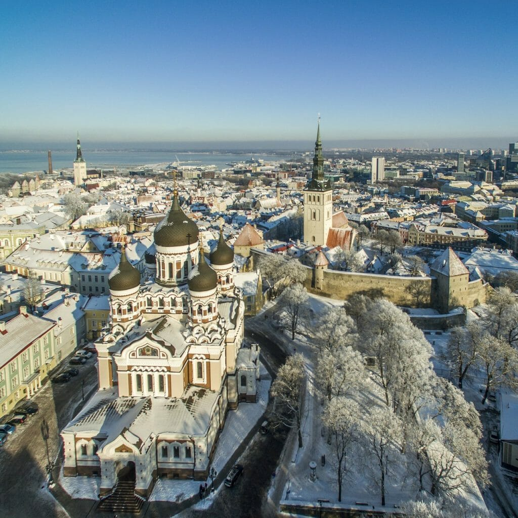 Birds-eye view over Tallinn in Winter with snow on the buildings, including the Alexander Nevsky Basilica