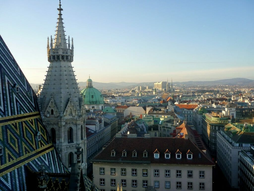 Higher view of the Vienna cityscape during the day with the rises and falls of the gorgeous architecture