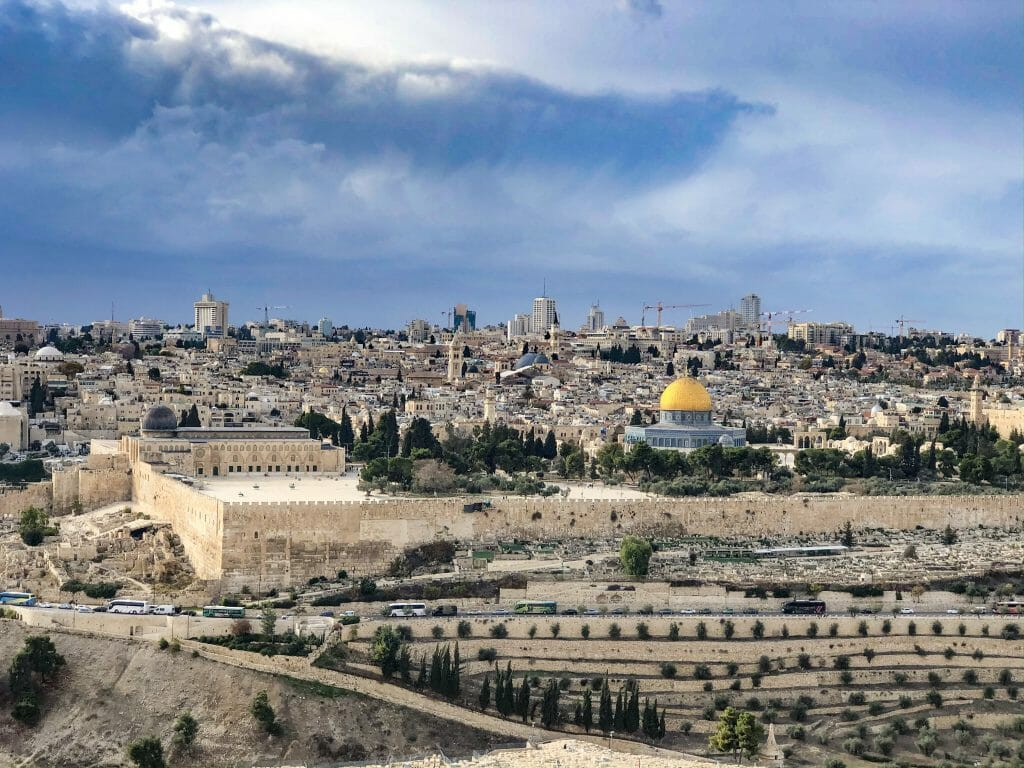 View over Jerusalem with Golden dome of the mosque at Temple Mount