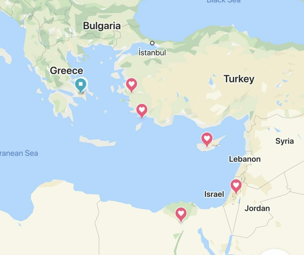 Map of Eastern Mediterranean with hearts near all the cruise stops
