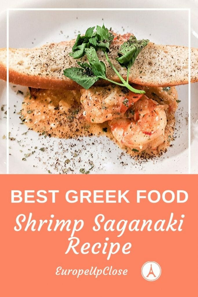 Best Greek Recipe: Shrimp Saganaki is a typical Greek food you should try. Fresh shrimps with tomatoes, ouzo and feta cheese make for a delicious and authentic Greek recipe. Greek food is delicious and follows the healthy Mediterranean Diet.  #greek #greece #greekfood #seafood #seafoodrecipe #greekrecipe #greekfood #shrimps #shrimprecipe #greekisles #mediterranean #mediterraneandiet #appetizer #appetizerrecipe #greekrecipes #greekdishes #shrimpsaganaki