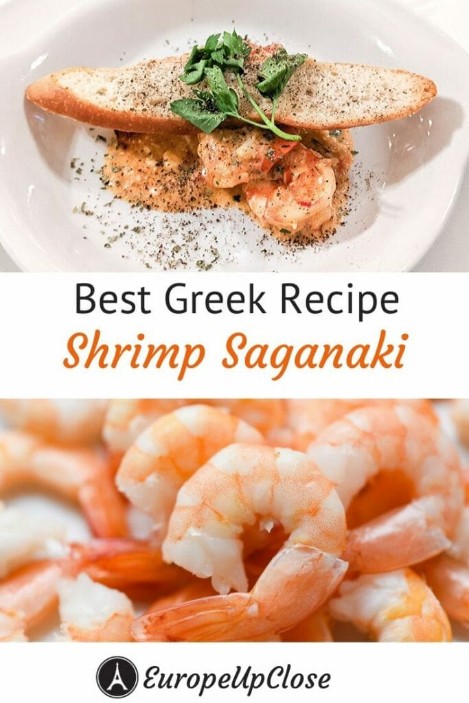 Best Greek Recipe: Shrimp Saganaki is a typical Greek food you should try. Fresh shrimps with tomatoes, ouzo and feta cheese make for a delicious and authentic Greek recipe. Greek food is delicious and follows the healthy Mediterranean Diet. #greek #greece #greekfood #seafood #seafoodrecipe #greekrecipe #greekfood #shrimps #shrimprecipe #greekisles #mediterranean #mediterraneandiet