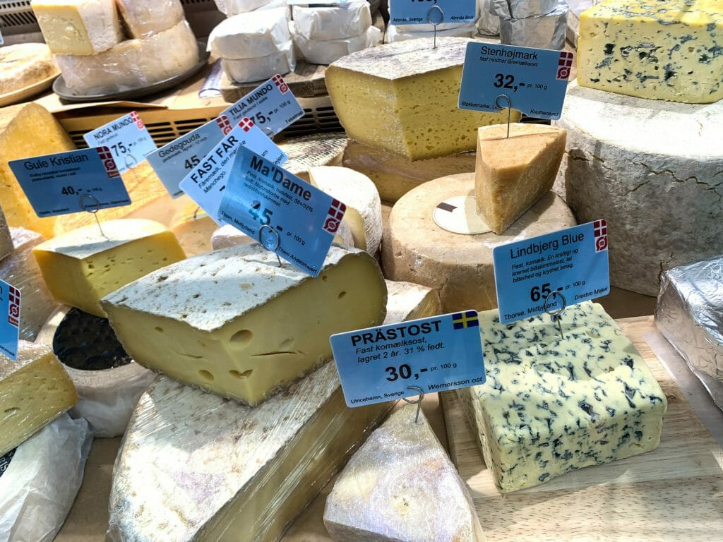 The cheese selling at Torvehallerne food market at the town centre, Copenhagen, Danmark.