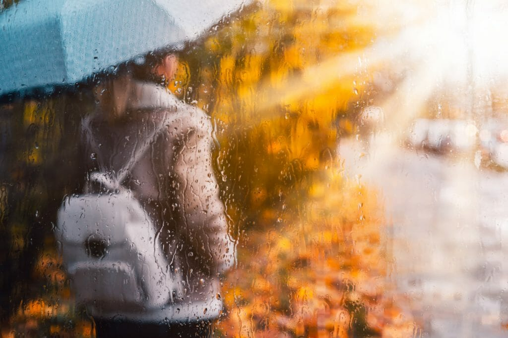 Silhouette of girl wear aviator jacket with umbrella standing behind the window covered with rain drops in golden autumn season. Backlit sunset sun beam flares after wet rainy weather