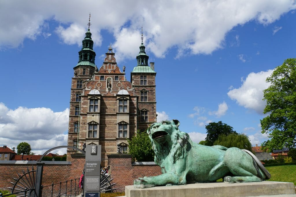 Rosenborg Castle with Green Lion Statue in front