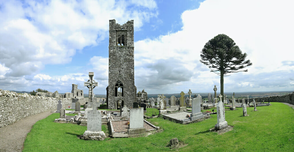 ruins of abbey with cemetery northwest of Dublin