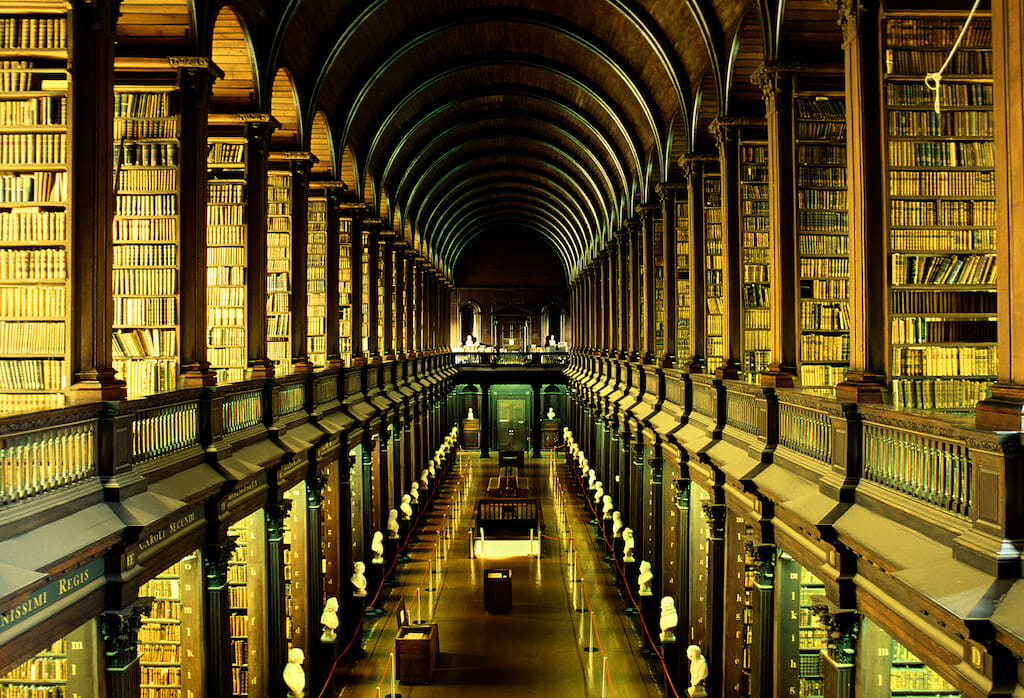 A brilliantly light library filled to the brim with books
