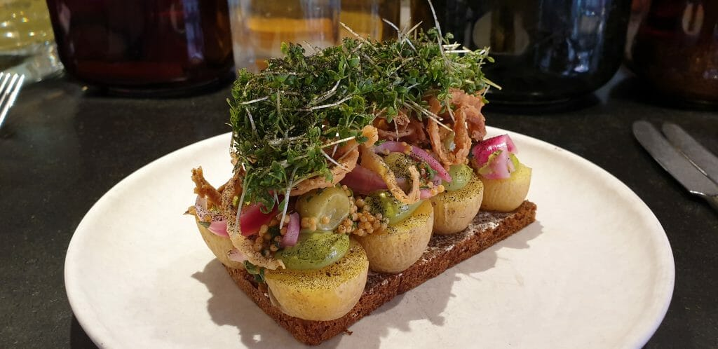 Danish smørrebrød - Open-faced sandwich with a lot of toppings