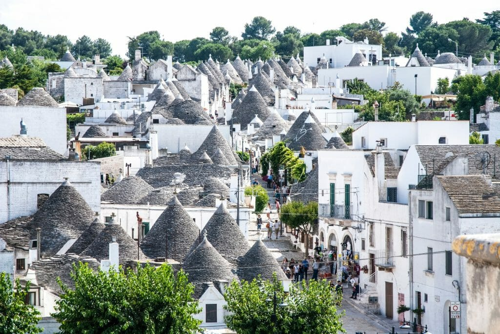 White houses with cone shaped roofs - Alberobello's trulli, Apulia, Italy