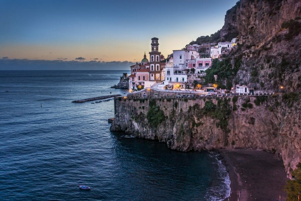 Village of Atrani on the Amalfi Coast in southern Italy at dusk