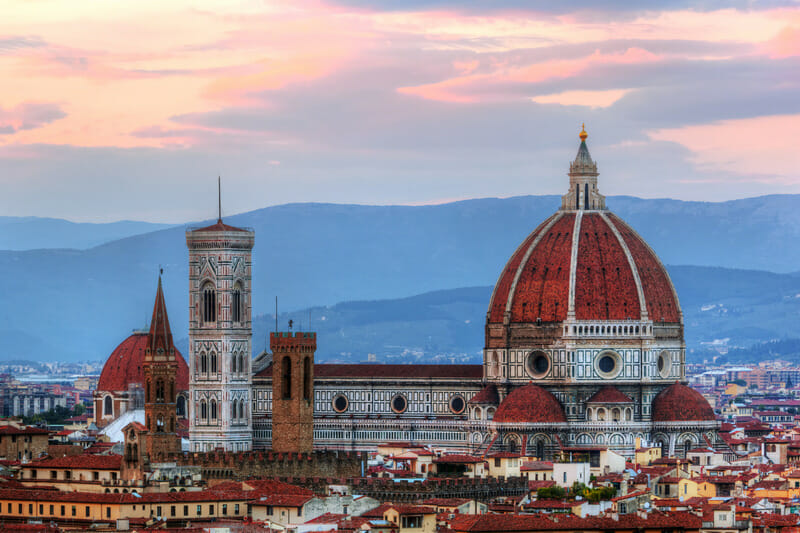 Florence, Italy skyline at sunset. Cathedral of Saint Mary of the Flowers. Italian Cattedrale di Santa Maria del Fiore, Firenze