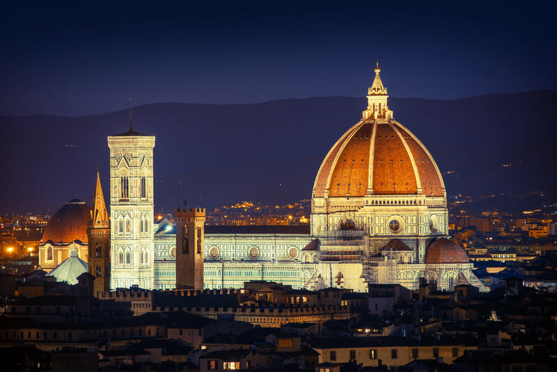 Florence Night Cityscape with Basilica Dome. Italian Architecture.