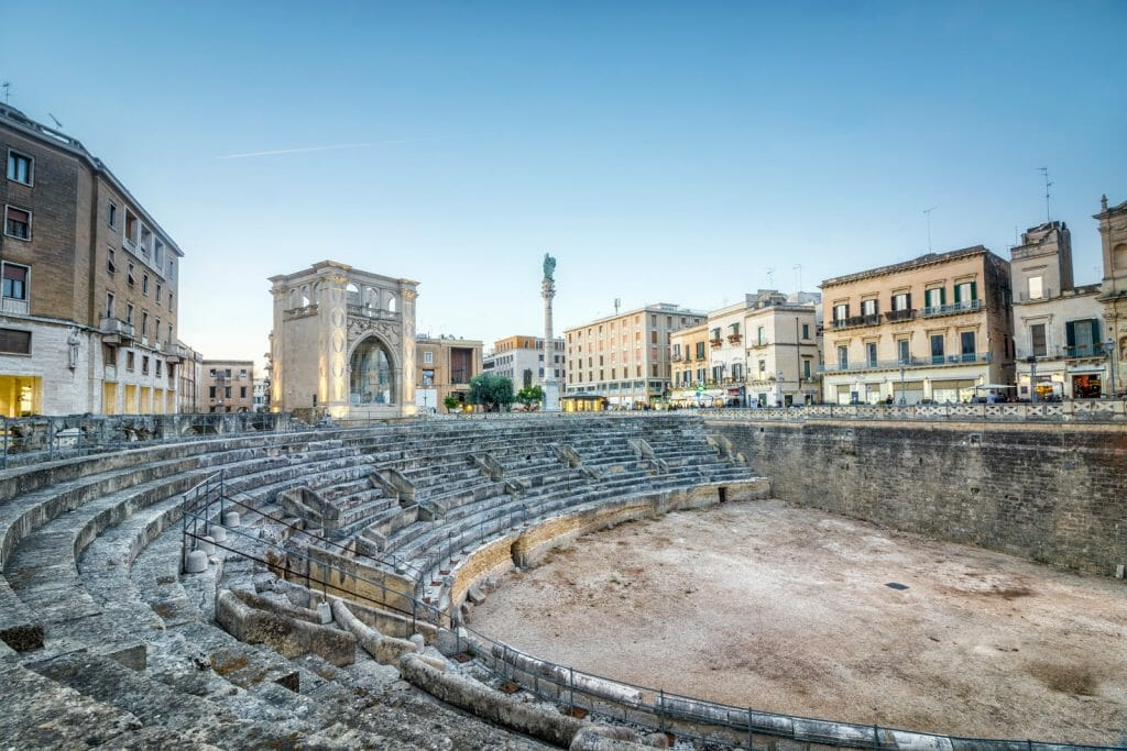 Ancient amphitheater in city center of Lecce, Puglia, Italy