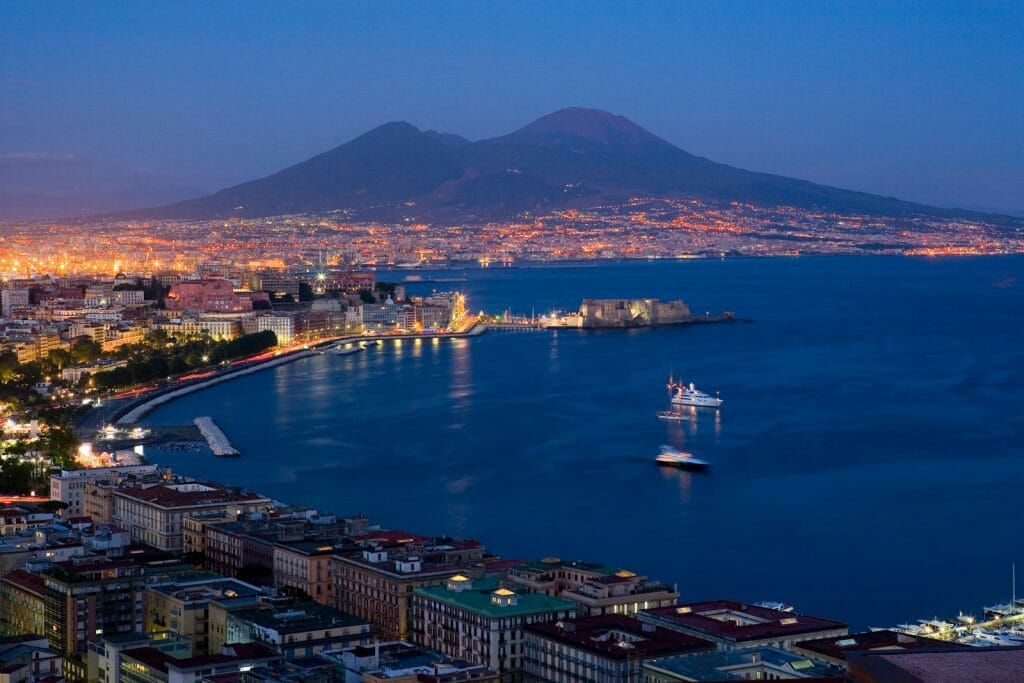 Bay of Naples Italy with the Vesuvio vulcano in the background during blue hour