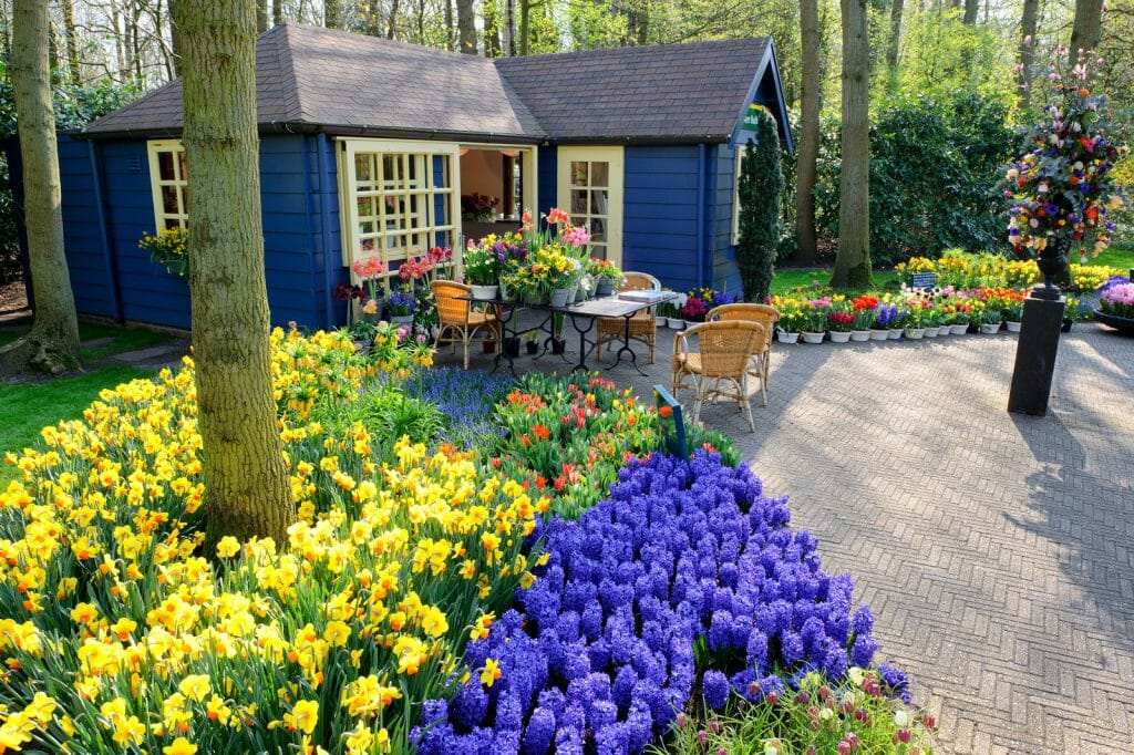 "Blue wood cabin surrounded by trees - ""Flower shop in Keukenhof Gardens, Lisse, Netherlands"""