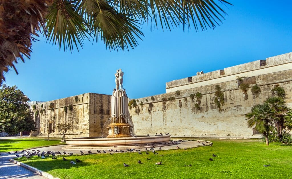 In Piazza Filippo Bottazzi, in front of the castle of Charles V. Lecce. Puglia. Italy.