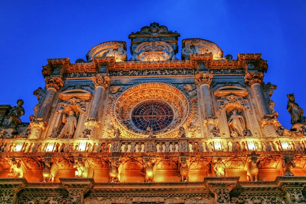 "Italy Lecce Historic center ""Santa Croce Church"" baroque architecture at night. Italy"