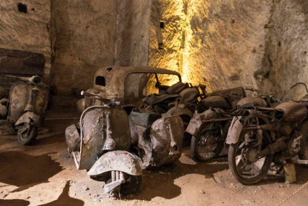 Military vehicles in the basements of Naples Italy
