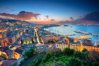 Things to do in Naples Italy - Aerial cityscape image of Naples, Campania, Italy during sunrise.