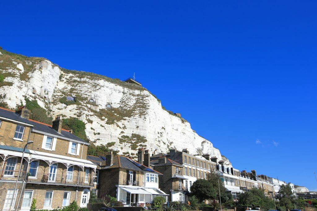 White Cliffs of Dover with houses in the foreground