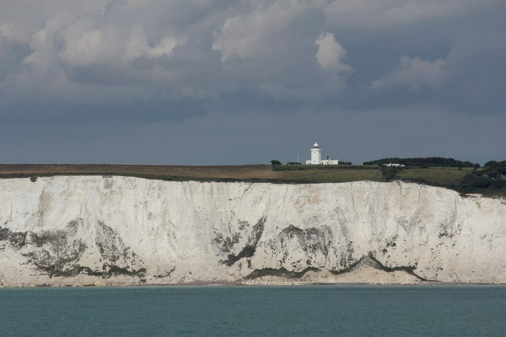 The Cliffs of Dover viewed from the sea with South Foreland Lighthouse