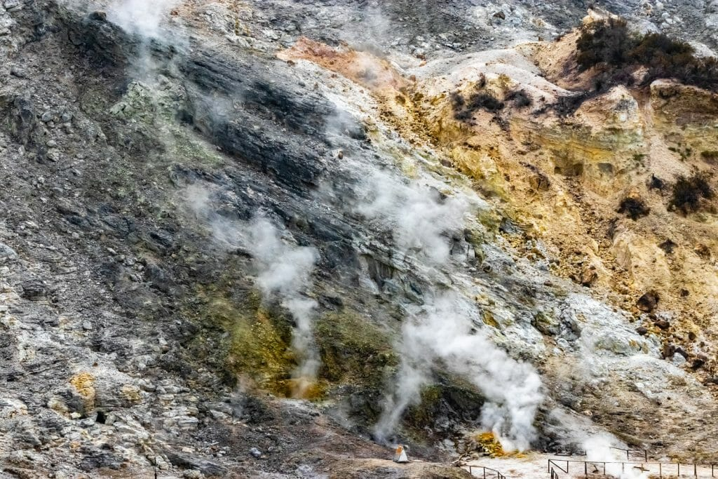 sulfur fumes in the phlegraean fields near Naples