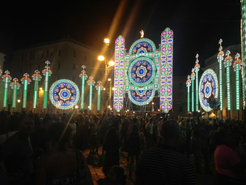 Light display of the Luminarie Sant Oronzo festival in Lecce Italy